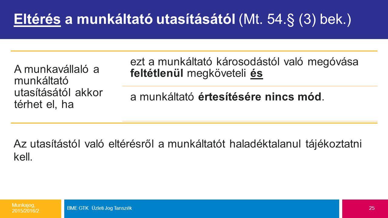 Eltérés a munkáltató utasításától (Mt. 54.§ (3) bek.) Munkajog, 2015/2016/2. BME GTK Üzleti Jog Tanszék25 A munkavállaló a munkáltató utasításától akk