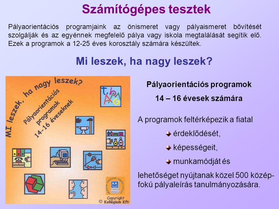 Számítógépes tesztek Pályaorientációs programjaink az önismeret vagy pályaismeret bővítését szolgálják és az egyénnek megfelelő pálya vagy iskola megt