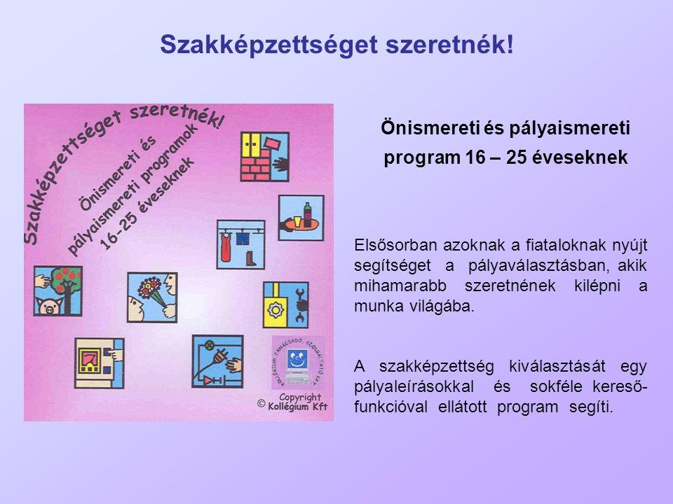 Szakképzettséget szeretnék! Önismereti és pályaismereti program 16 – 25 éveseknek Elsősorban azoknak a fiataloknak nyújt segítséget a pályaválasztásba