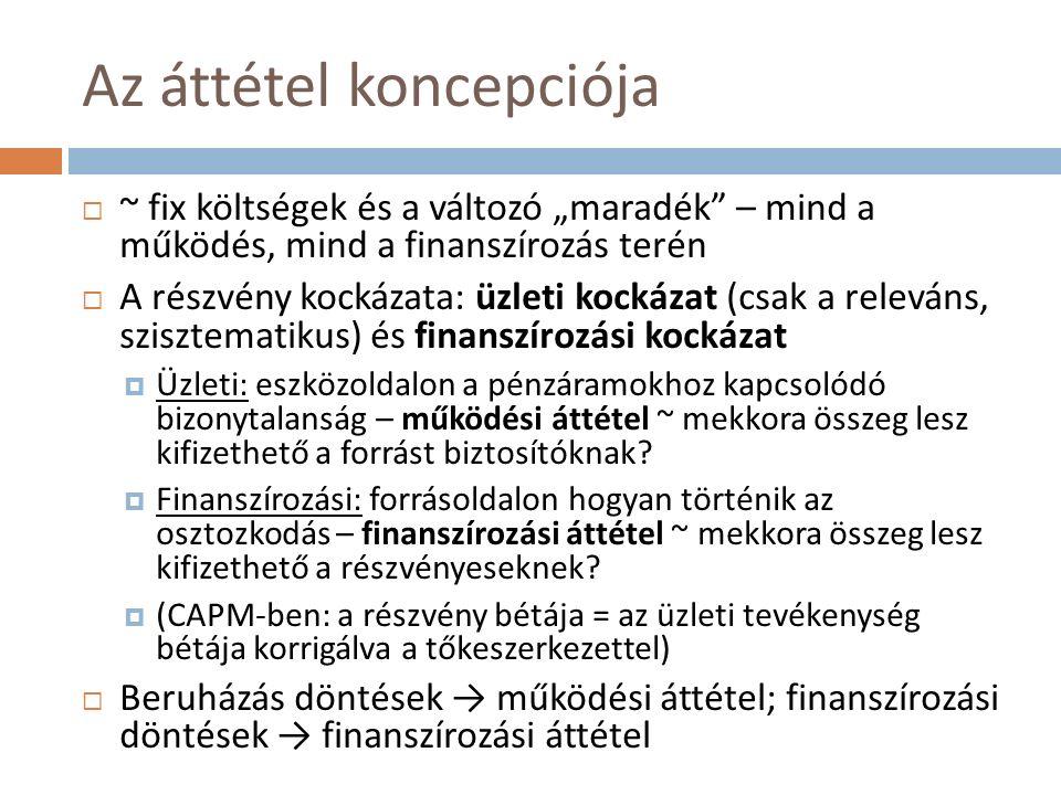 Osztalékpolitika (IV.)  A készpénzes osztalékfizetés módszere:  Az igazgatótanács javaslata alapján a közgyűlés dönt  A bejelentéstől kezdve fizetési kötelezettség a részvényesek felé  Az eljárás szakaszai: Osztalékfizetés bejelentésének napja (declaration date): osztalék nagyságának megállapítása, közzététele, kötelezettség keletkezik Osztalékjog megszűnésének napja (ex-dividend date): a részvényeket ettől kezdve osztalékjog nélkül forgalmazzák Osztalékra jogosult részvényesek nyilvántartásának napja (record date): az osztalékra jogosult részvényesek listájának megállapítása Osztalékfizetés napja (payment date)  Alapvető kérdés: számít-e az osztalékpolitika a részvényesi érték szempontjából.