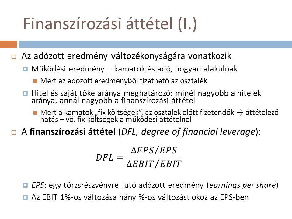 """Finanszírozási áttétel (I.)  Az adózott eredmény változékonyságára vonatkozik  Működési eredmény – kamatok és adó, hogyan alakulnak Mert az adózott eredményből fizethető az osztalék  Hitel és saját tőke aránya meghatározó: minél nagyobb a hitelek aránya, annál nagyobb a finanszírozási áttétel Mert a kamatok """"fix költségek , az osztalék előtt fizetendők → áttételező hatás – vö."""