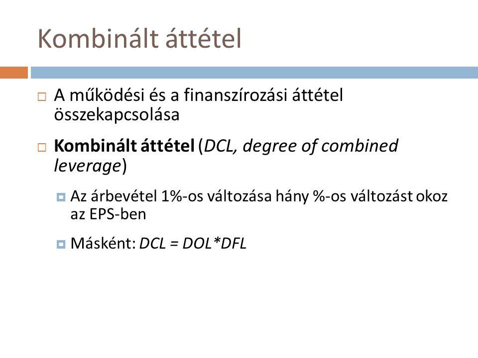 Kombinált áttétel  A működési és a finanszírozási áttétel összekapcsolása  Kombinált áttétel (DCL, degree of combined leverage)  Az árbevétel 1%-os változása hány %-os változást okoz az EPS-ben  Másként: DCL = DOL*DFL