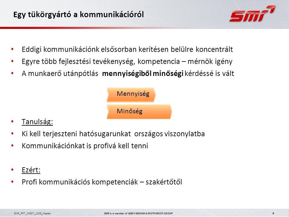 SMR_PPT _MSO7_1203_Master SMR is a member of SAMVARDHANA MOTHERSON GROUP 4 Egy tükörgyártó a kommunikációról Eddigi kommunikációnk elsősorban kerítése