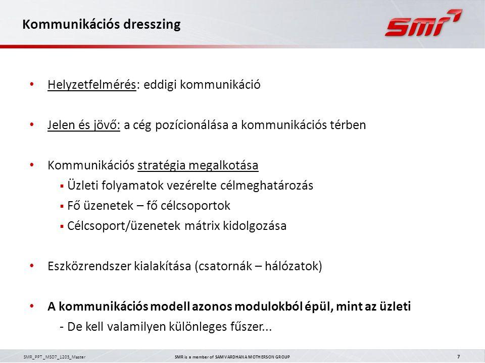 SMR_PPT _MSO7_1203_Master SMR is a member of SAMVARDHANA MOTHERSON GROUP 7 Kommunikációs dresszing Helyzetfelmérés: eddigi kommunikáció Jelen és jövő: