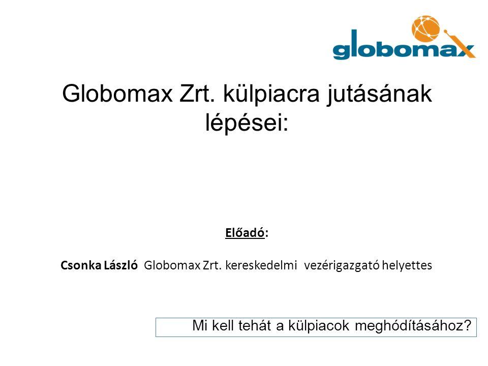 Globomax Zrt. külpiacra jutásának lépései: Előadó: Csonka László Globomax Zrt. kereskedelmi vezérigazgató helyettes Mi kell tehát a külpiacok meghódít