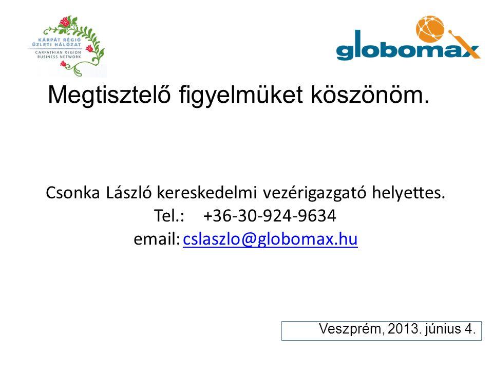 Csonka László kereskedelmi vezérigazgató helyettes. Tel.:+36-30-924-9634 email:cslaszlo@globomax.hucslaszlo@globomax.hu Veszprém, 2013. június 4. Megt