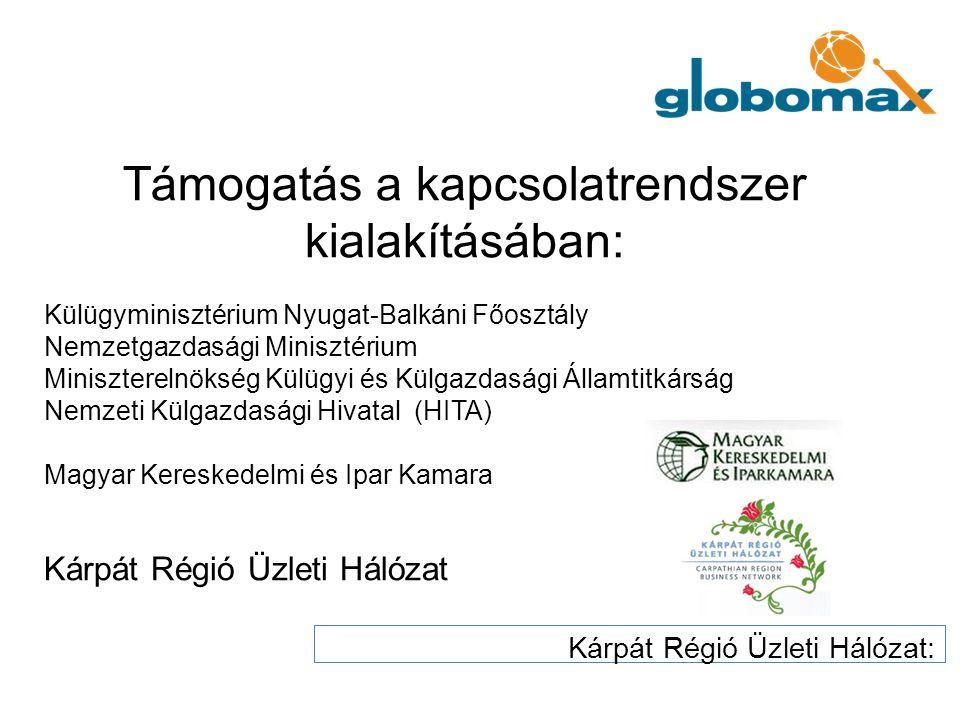 Külügyminisztérium Nyugat-Balkáni Főosztály Nemzetgazdasági Minisztérium Miniszterelnökség Külügyi és Külgazdasági Államtitkárság Nemzeti Külgazdasági Hivatal (HITA) Magyar Kereskedelmi és Ipar Kamara Kárpát Régió Üzleti Hálózat Kárpát Régió Üzleti Hálózat: Támogatás a kapcsolatrendszer kialakításában:
