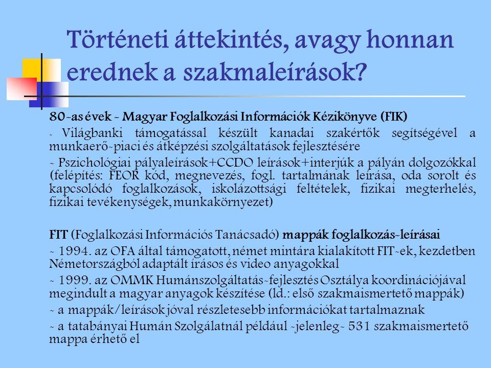 Történeti áttekintés, avagy honnan erednek a szakmaleírások? 80-as évek - Magyar Foglalkozási Információk Kézikönyve (FIK) - Világbanki támogatással k