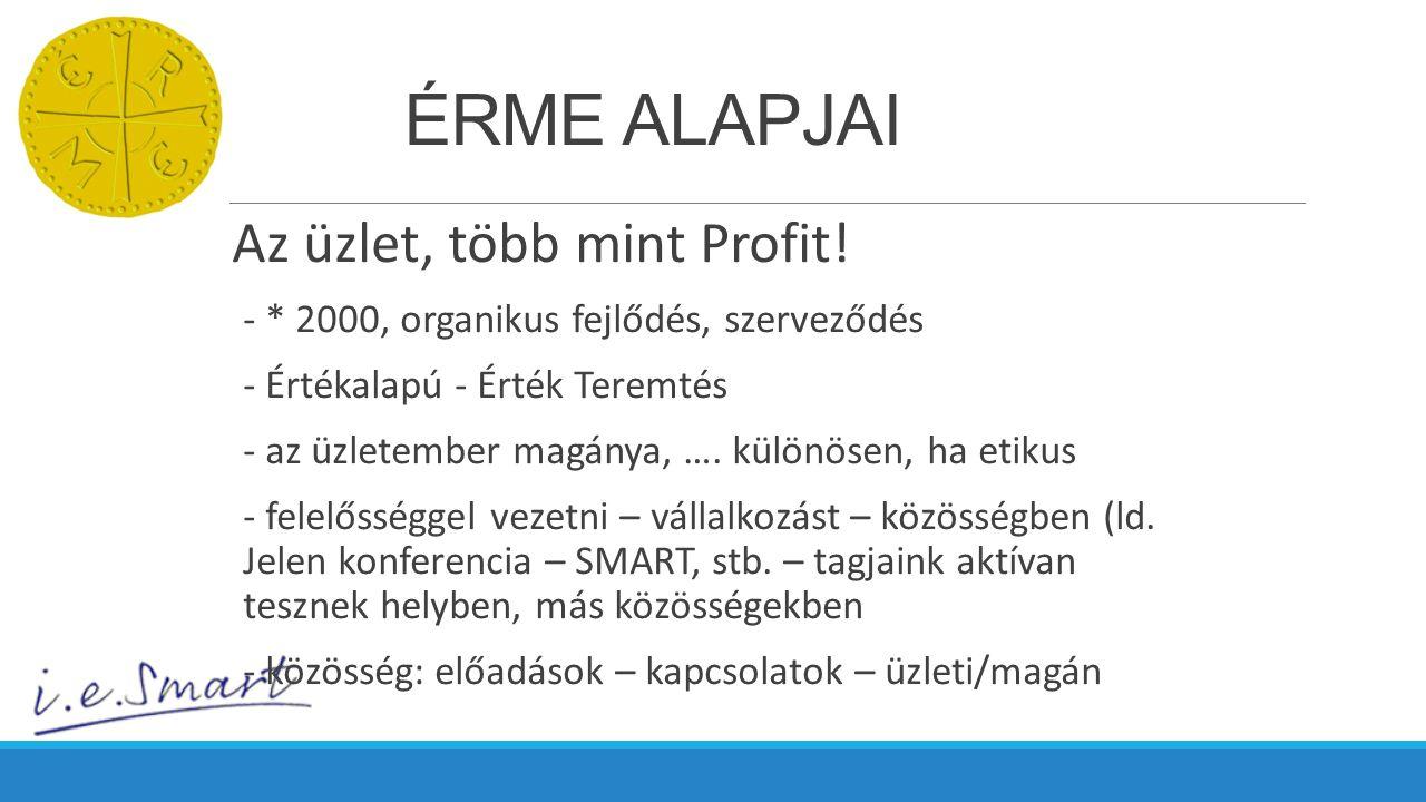 ÉRME ALAPJAI Az üzlet, több mint Profit! - * 2000, organikus fejlődés, szerveződés - Értékalapú - Érték Teremtés - az üzletember magánya, …. különösen