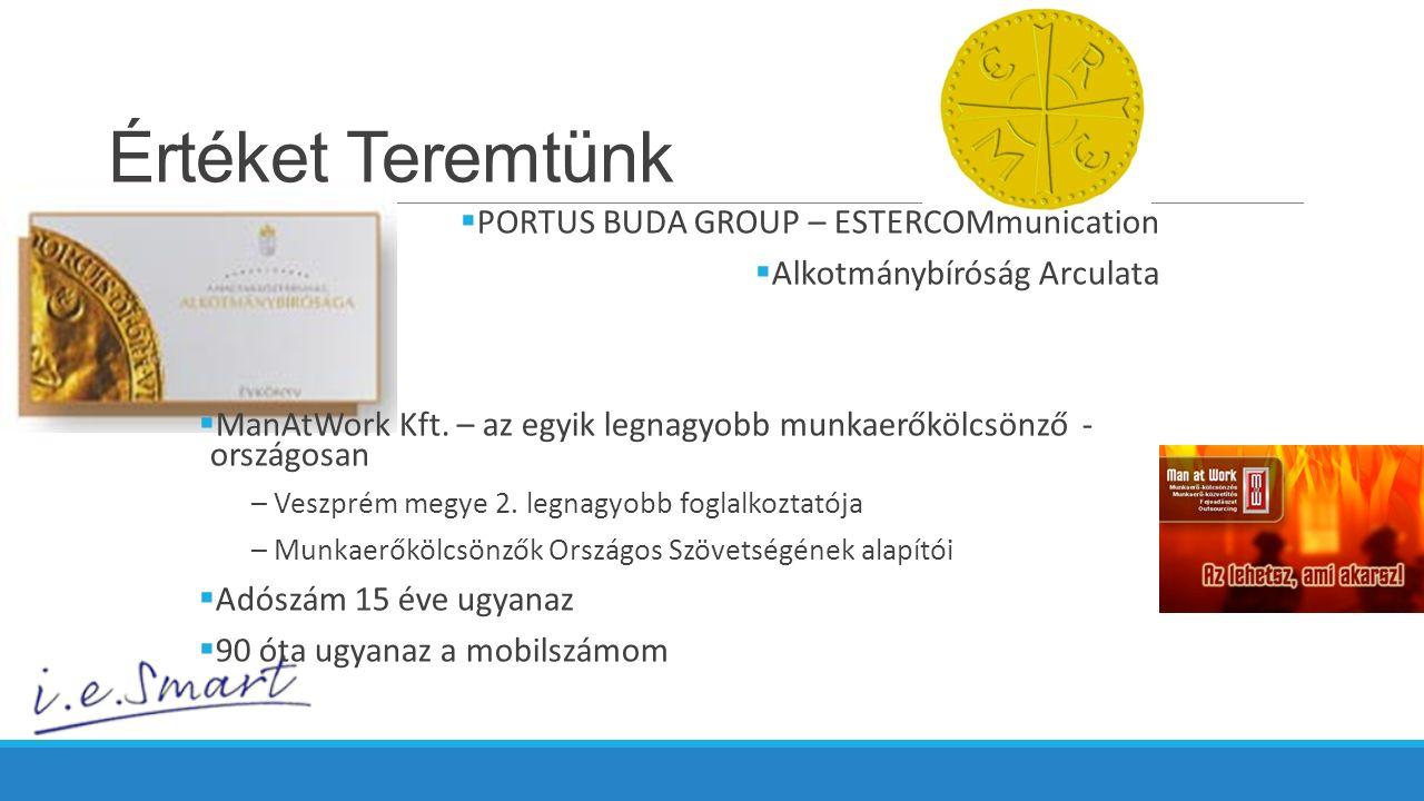 Értéket Teremtünk  PORTUS BUDA GROUP – ESTERCOMmunication  Alkotmánybíróság Arculata  ManAtWork Kft.