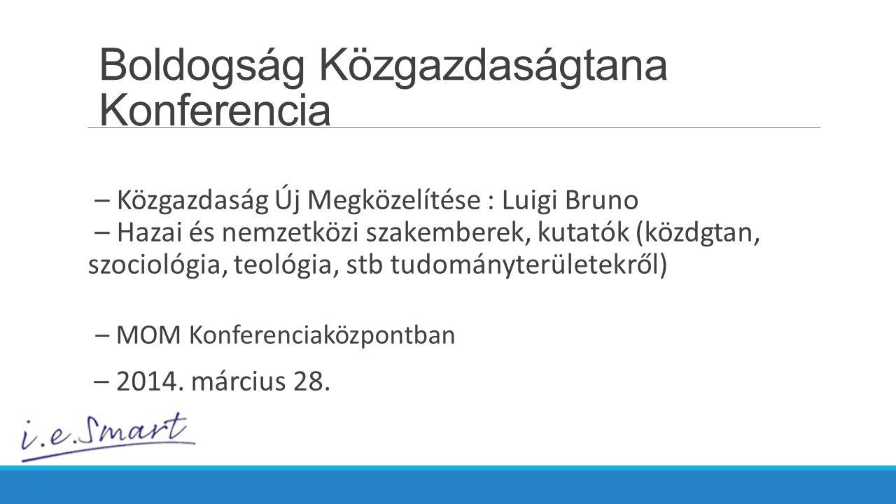 – Közgazdaság Új Megközelítése : Luigi Bruno – Hazai és nemzetközi szakemberek, kutatók (közdgtan, szociológia, teológia, stb tudományterületekről) – MOM Konferenciaközpontban – 2014.
