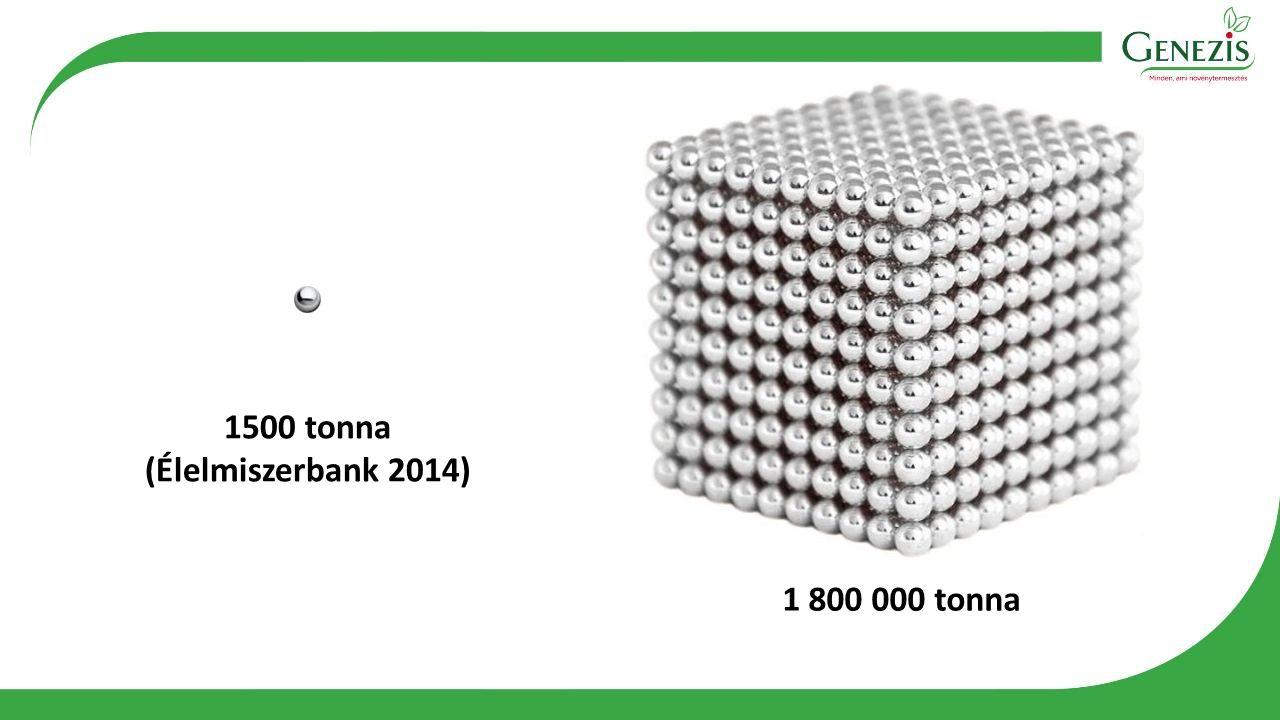 1500 tonna (Élelmiszerbank 2014) 1 800 000 tonna