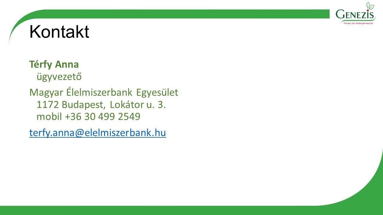 Kontakt Térfy Anna ügyvezető Magyar Élelmiszerbank Egyesület 1172 Budapest, Lokátor u. 3. mobil +36 30 499 2549 terfy.anna@elelmiszerbank.hu