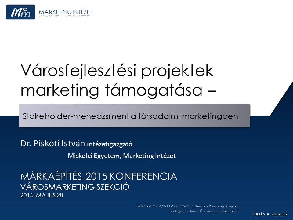 TUDÁS A SIKERHEZ Stakeholder-menedzsment a társadalmi marketingben MÁRKAÉPÍTÉS 2015 KONFERENCIA VÁROSMARKETING SZEKCIÓ 2015.
