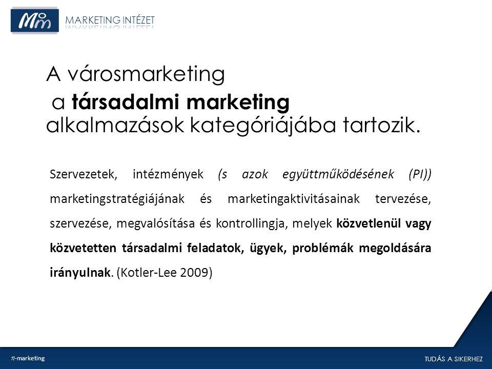 TUDÁS A SIKERHEZ A városmarketing a társadalmi marketing alkalmazások kategóriájába tartozik.