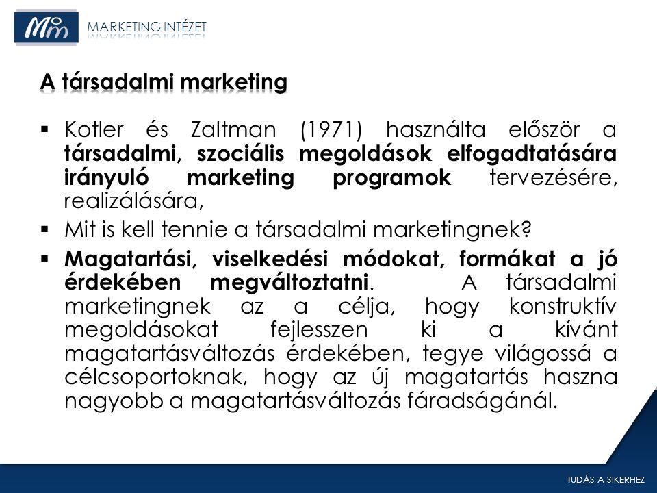 TUDÁS A SIKERHEZ  Kotler és Zaltman (1971) használta először a társadalmi, szociális megoldások elfogadtatására irányuló marketing programok tervezésére, realizálására,  Mit is kell tennie a társadalmi marketingnek.