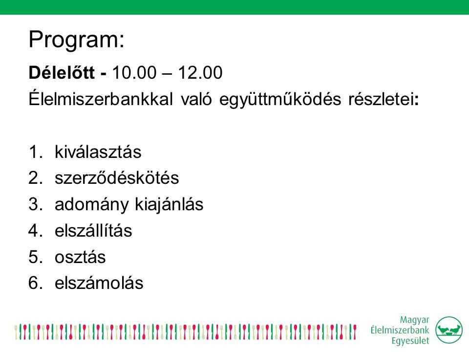 Program: Délelőtt - 10.00 – 12.00 Élelmiszerbankkal való együttműködés részletei: 1.kiválasztás 2.szerződéskötés 3.adomány kiajánlás 4.elszállítás 5.osztás 6.elszámolás