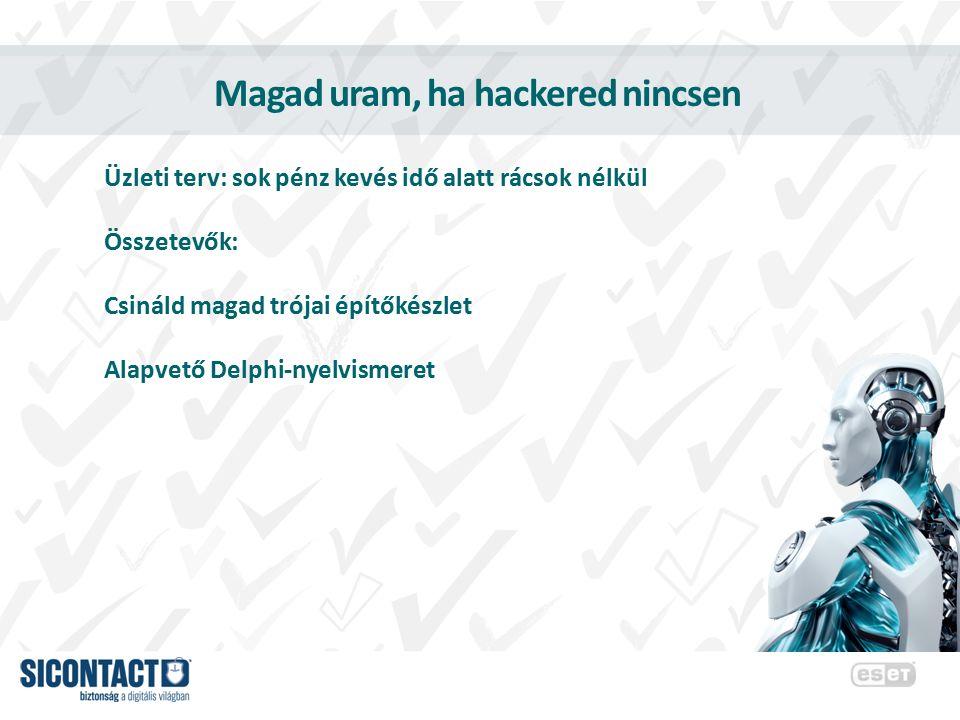 Magad uram, ha hackered nincsen Üzleti terv: sok pénz kevés idő alatt rácsok nélkül Összetevők: Csináld magad trójai építőkészlet Alapvető Delphi-nyel