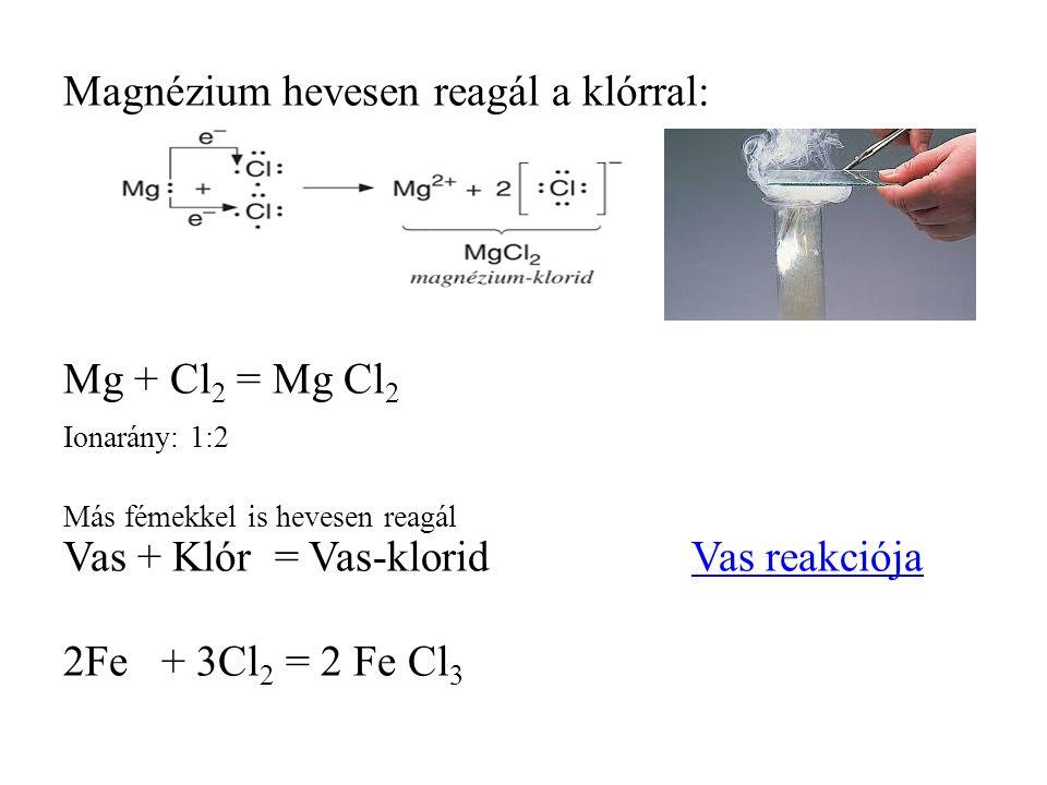 Magnézium hevesen reagál a klórral: Mg + Cl 2 = Mg Cl 2 Ionarány: 1:2 Más fémekkel is hevesen reagál Vas + Klór = Vas-kloridVas reakciójaVas reakciója 2Fe + 3Cl 2 = 2 Fe Cl 3