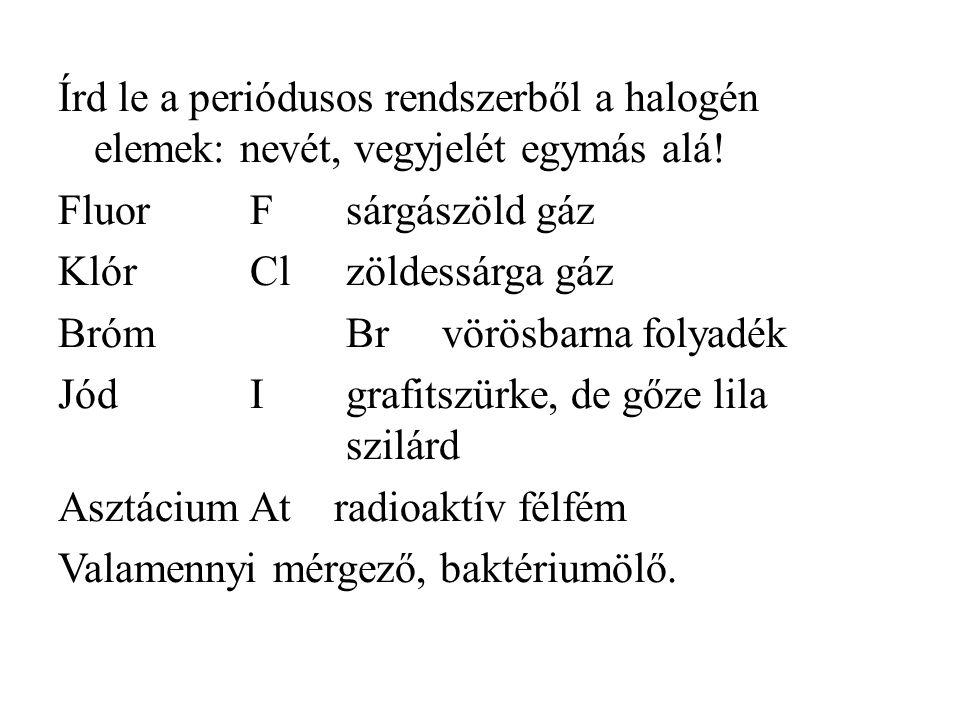 Írd le a periódusos rendszerből a halogén elemek: nevét, vegyjelét egymás alá! FluorFsárgászöld gáz KlórClzöldessárga gáz BrómBrvörösbarna folyadék Jó
