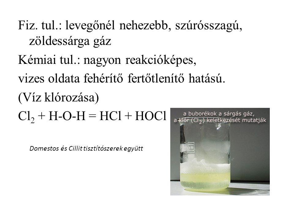 Fiz. tul.: levegőnél nehezebb, szúrósszagú, zöldessárga gáz Kémiai tul.: nagyon reakcióképes, vizes oldata fehérítő fertőtlenítő hatású. (Víz klórozás