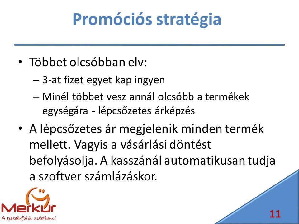 Promóciós stratégia Többet olcsóbban elv: – 3-at fizet egyet kap ingyen – Minél többet vesz annál olcsóbb a termékek egységára - lépcsőzetes árképzés