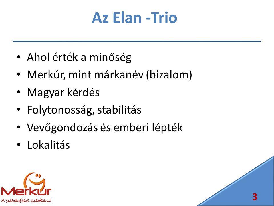 Az Elan -Trio Ahol érték a minőség Merkúr, mint márkanév (bizalom) Magyar kérdés Folytonosság, stabilitás Vevőgondozás és emberi lépték Lokalitás 3