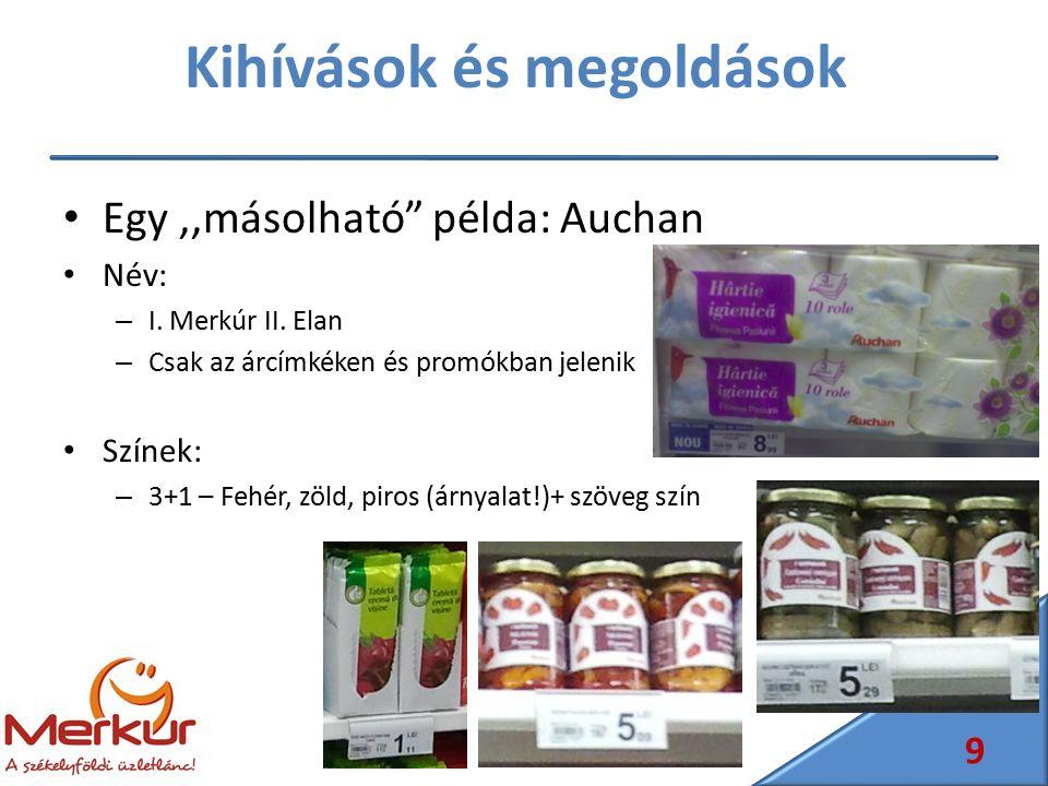 """Kihívások és megoldások Egy,,másolható"""" példa: Auchan Név: – I. Merkúr II. Elan – Csak az árcímkéken és promókban jelenik Színek: – 3+1 – Fehér, zöld,"""
