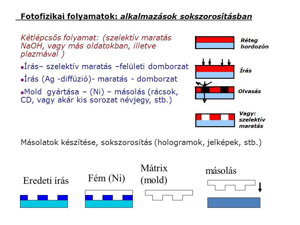 Kétlépcsős folyamat: (szelektív maratás NaOH, vagy más oldatokban, illetve plazmával ) Írás– szelektív maratás –felületi domborzat Írás (Ag -diffúzió)