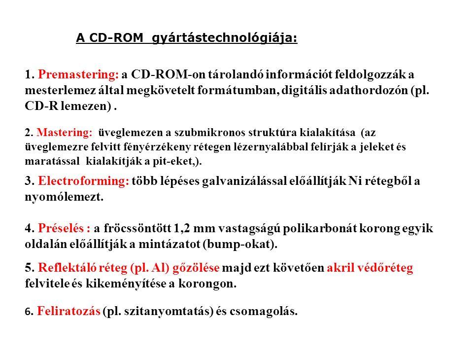 A CD-ROM gyártástechnológiája: 1. Premastering: a CD-ROM-on tárolandó információt feldolgozzák a mesterlemez által megkövetelt formátumban, digitális