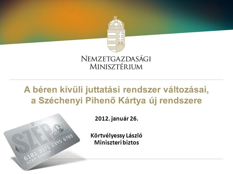 A béren kívüli juttatási rendszer változásai, a Széchenyi Pihenő Kártya új rendszere 2012. január 26. Körtvélyessy László Miniszteri biztos