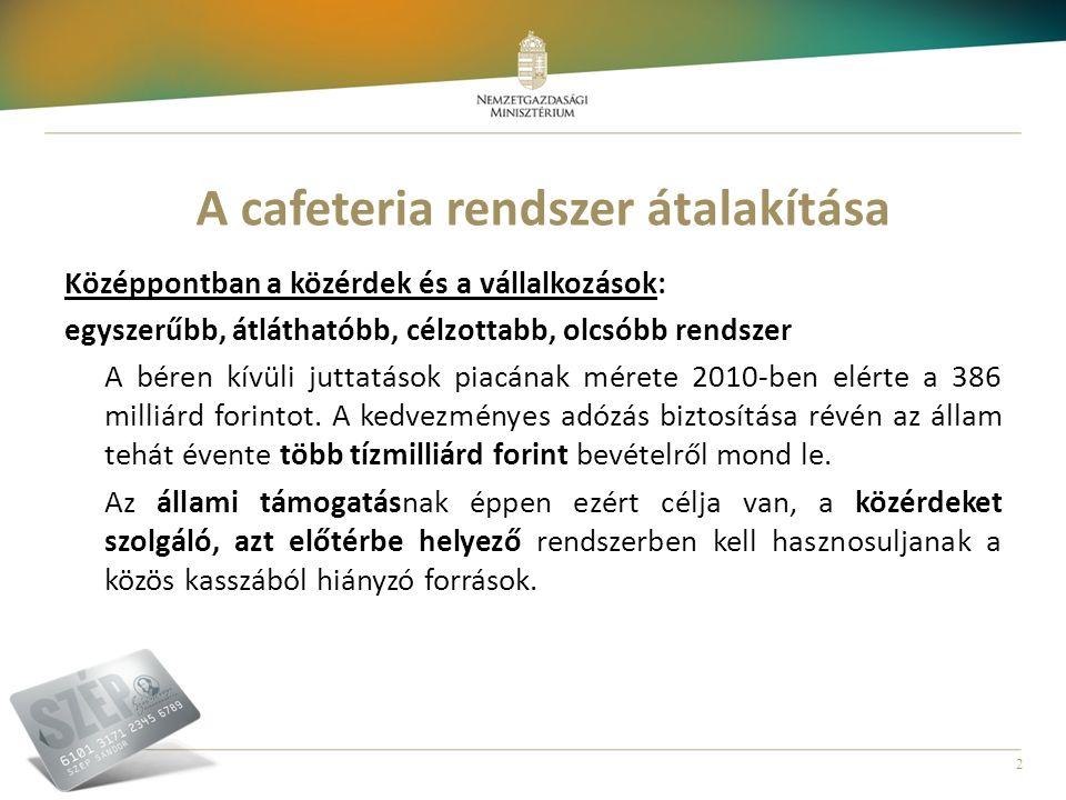 2 A cafeteria rendszer átalakítása Középpontban a közérdek és a vállalkozások: egyszerűbb, átláthatóbb, célzottabb, olcsóbb rendszer A béren kívüli ju