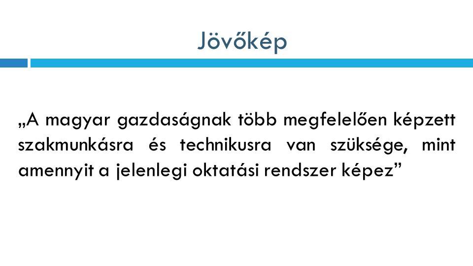 """Jövőkép """"A magyar gazdaságnak több megfelelően képzett szakmunkásra és technikusra van szüksége, mint amennyit a jelenlegi oktatási rendszer képez"""""""