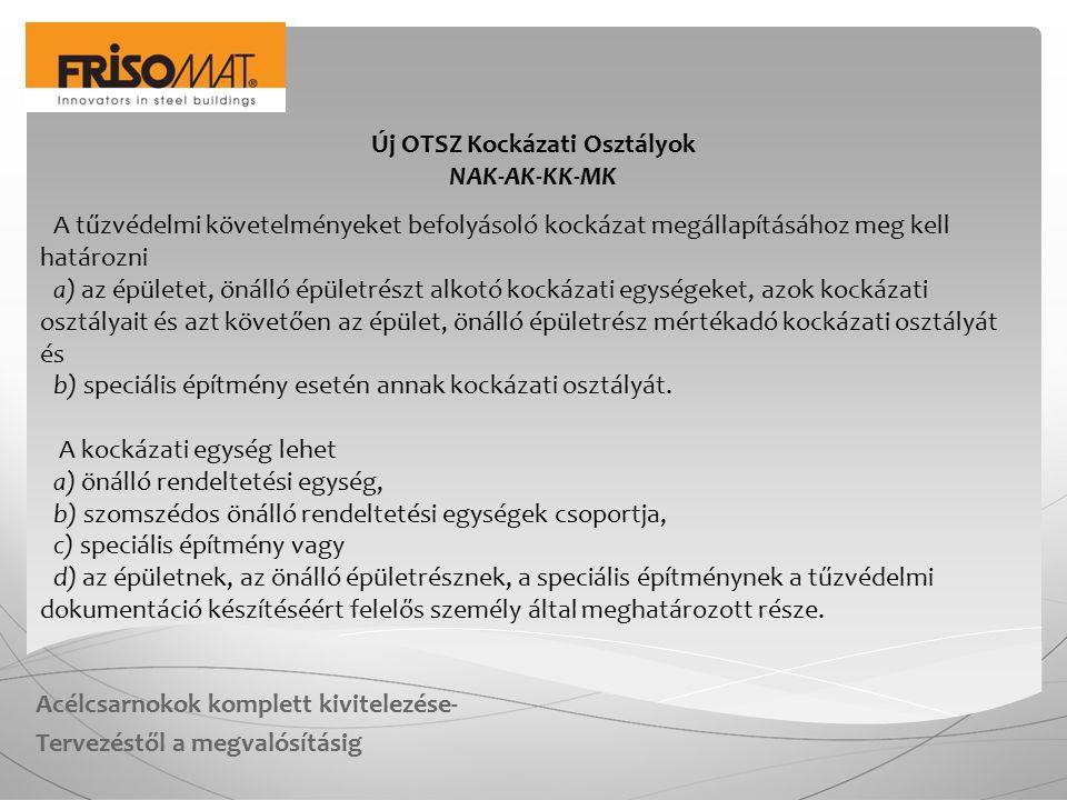 Acélcsarnokok komplett kivitelezése- Tervezéstől a megvalósításig Új OTSZ Kockázati Osztályok NAK-AK-KK-MK A kockázati egység kockázati osztályát a tűzvédelmi dokumentáció készítéséért felelős személy határozza meg.