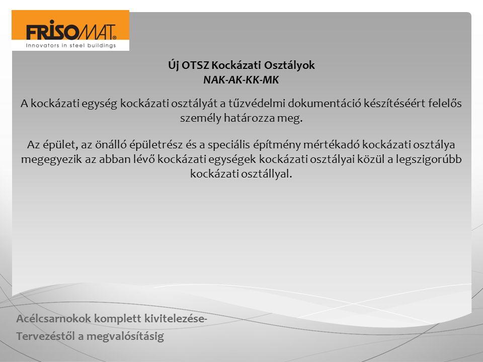 Acélcsarnokok komplett kivitelezése- Tervezéstől a megvalósításig Új OTSZ Kockázati Osztályok NAK-AK-KK-MK A kockázati egység kockázati osztályát a tű