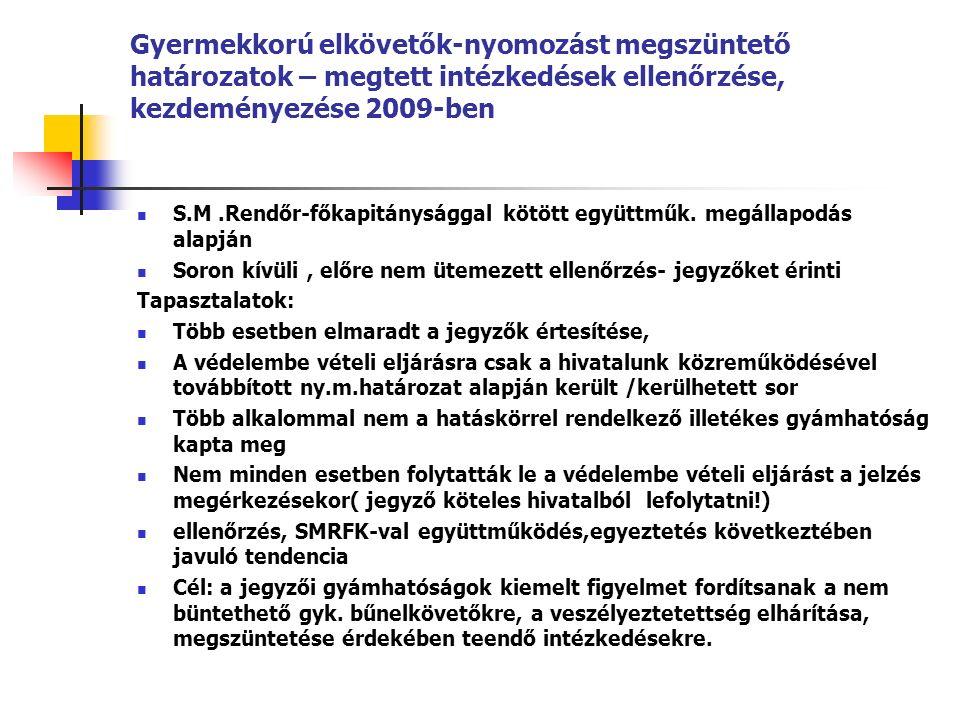 Gyermekkorú elkövetők-nyomozást megszüntető határozatok – megtett intézkedések ellenőrzése, kezdeményezése 2009-ben S.M.Rendőr-főkapitánysággal kötött