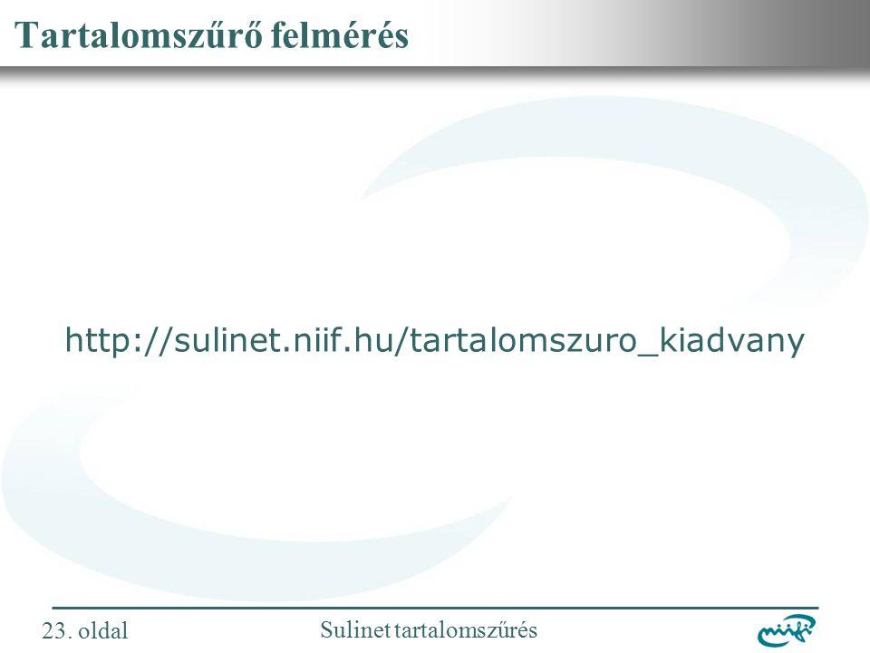Nemzeti Információs Infrastruktúra Fejlesztési Intézet Sulinet tartalomszűrés Tartalomszűrő felmérés http://sulinet.niif.hu/tartalomszuro_kiadvany 23.