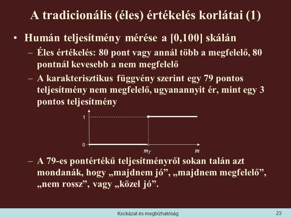 """Kockázat és megbízhatóság A tradicionális (éles) értékelés korlátai (1) Humán teljesítmény mérése a [0,100] skálán –Éles értékelés: 80 pont vagy annál több a megfelelő, 80 pontnál kevesebb a nem megfelelő –A karakterisztikus függvény szerint egy 79 pontos teljesítmény nem megfelelő, ugyanannyit ér, mint egy 3 pontos teljesítmény –A 79-es pontértékű teljesítményről sokan talán azt mondanák, hogy """"majdnem jó , """"majdnem megfelelő , """"nem rossz , vagy """"közel jó ."""