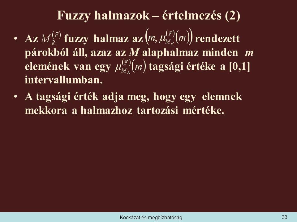Kockázat és megbízhatóság Fuzzy halmazok – értelmezés (2) Az fuzzy halmaz az rendezett párokból áll, azaz az M alaphalmaz minden m elemének van egy tagsági értéke a [0,1] intervallumban.