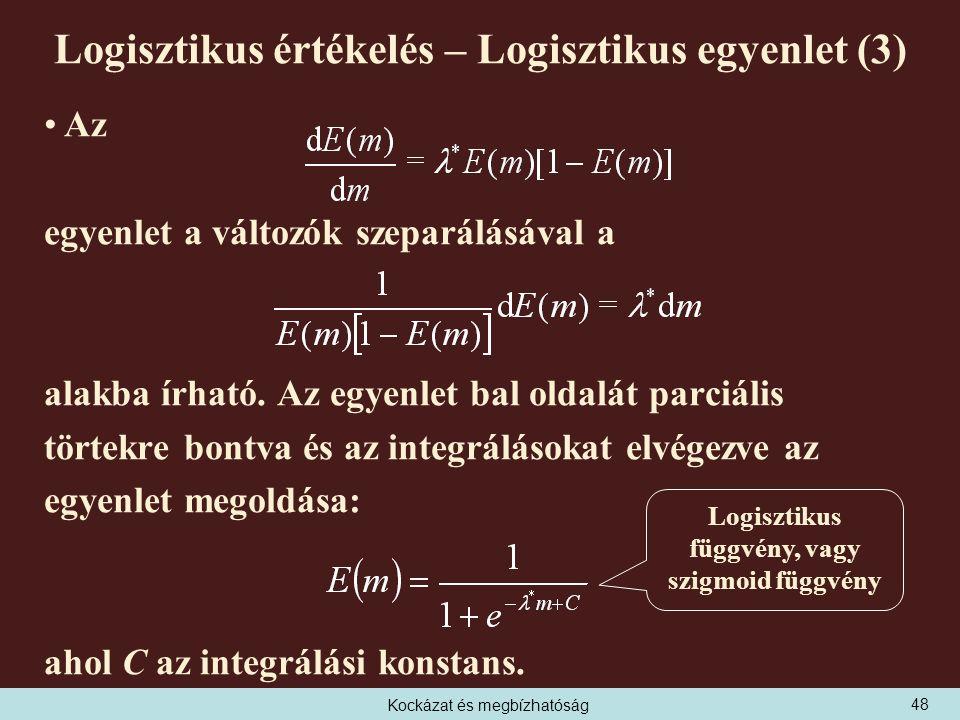 Kockázat és megbízhatóság Logisztikus értékelés – Logisztikus egyenlet (3) Az egyenlet a változók szeparálásával a alakba írható.