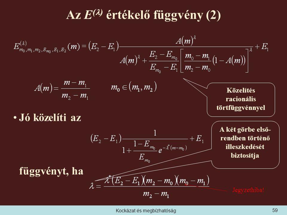 Kockázat és megbízhatóság Az E ( ) értékelő függvény (2) Jó közelíti az függvényt, ha A két görbe első- rendben történő illeszkedését biztosítja Közelítés racionális törtfüggvénnyel 59 Jegyzethiba!