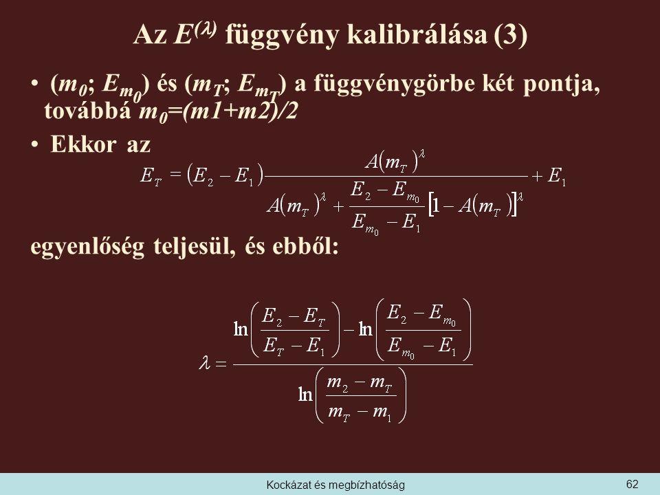 Kockázat és megbízhatóság Az E ( ) függvény kalibrálása (3) (m 0 ; E m 0 ) és (m T ; E m T ) a függvénygörbe két pontja, továbbá m 0 =(m1+m2)/2 Ekkor az egyenlőség teljesül, és ebből: 62