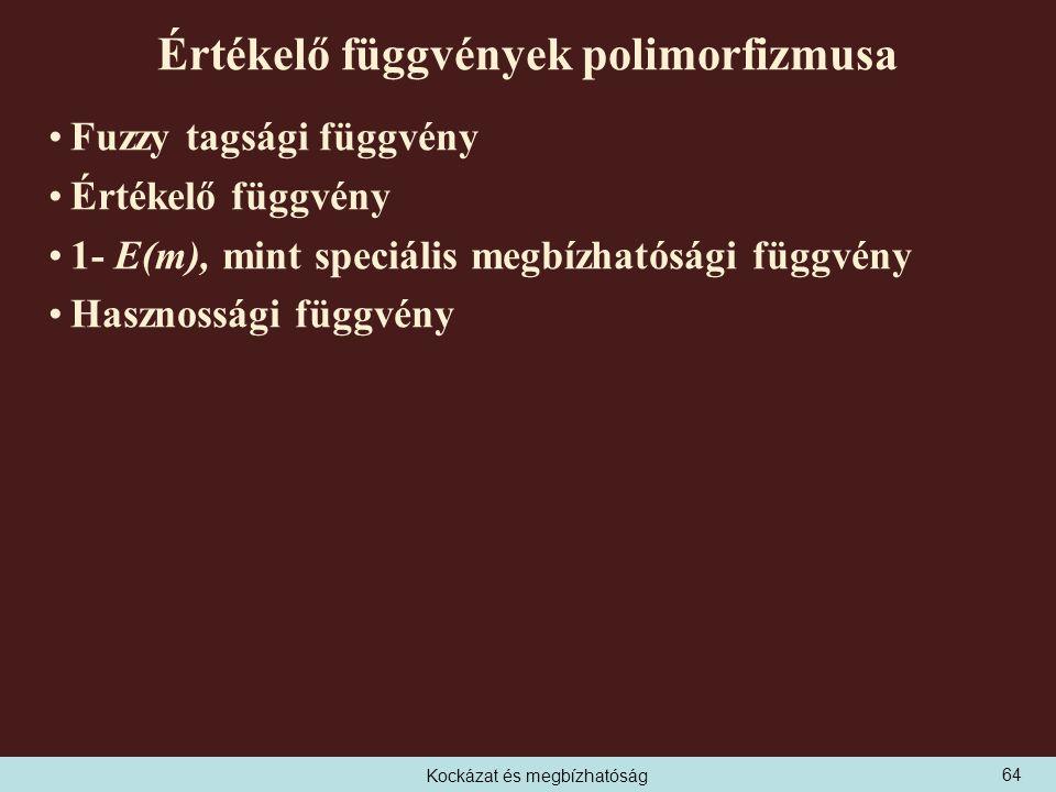 Kockázat és megbízhatóság Értékelő függvények polimorfizmusa Fuzzy tagsági függvény Értékelő függvény 1- E(m), mint speciális megbízhatósági függvény Hasznossági függvény 64
