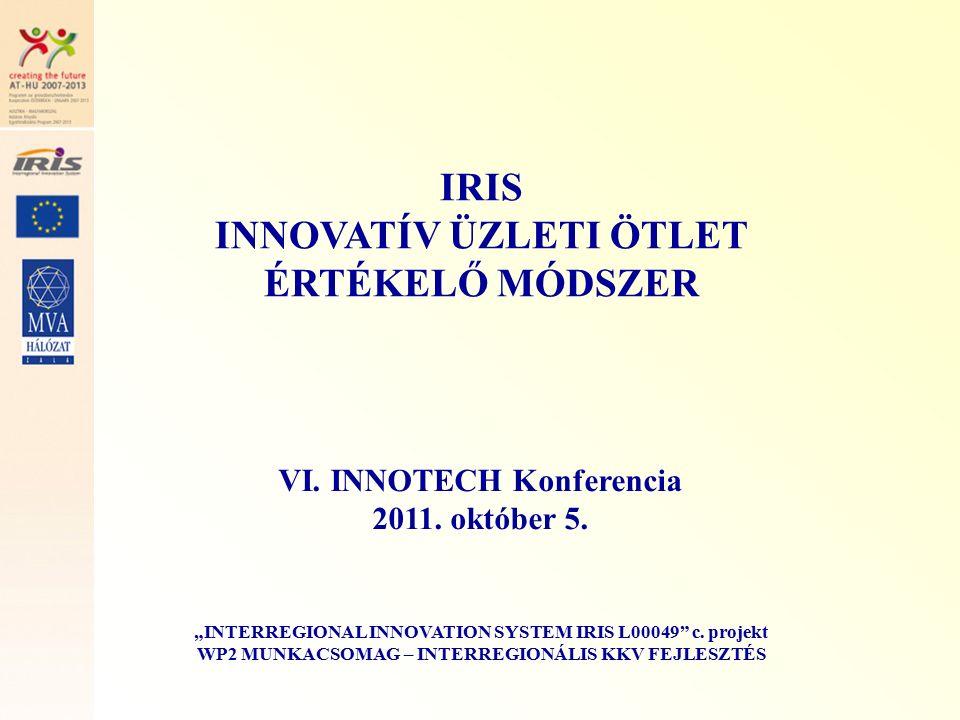 4.Innovativitás IRIS - INNOVATÍV ÜZLETI ÖTLET ÉRTÉKELŐ MÓDSZER 4.1.