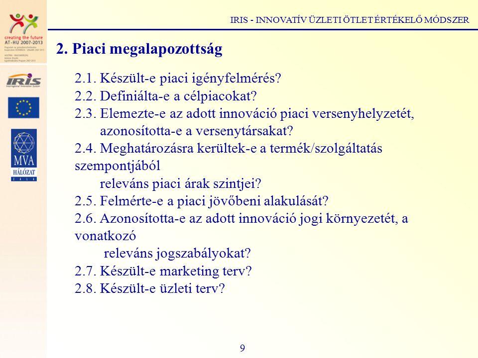 IRIS - INNOVATÍV ÜZLETI ÖTLET ÉRTÉKELŐ MÓDSZER 2. Piaci megalapozottság 2.1.