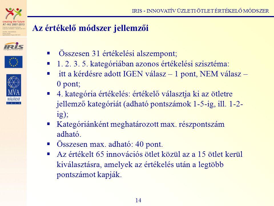 Az értékelő módszer jellemzői  Összesen 31 értékelési alszempont;  1.