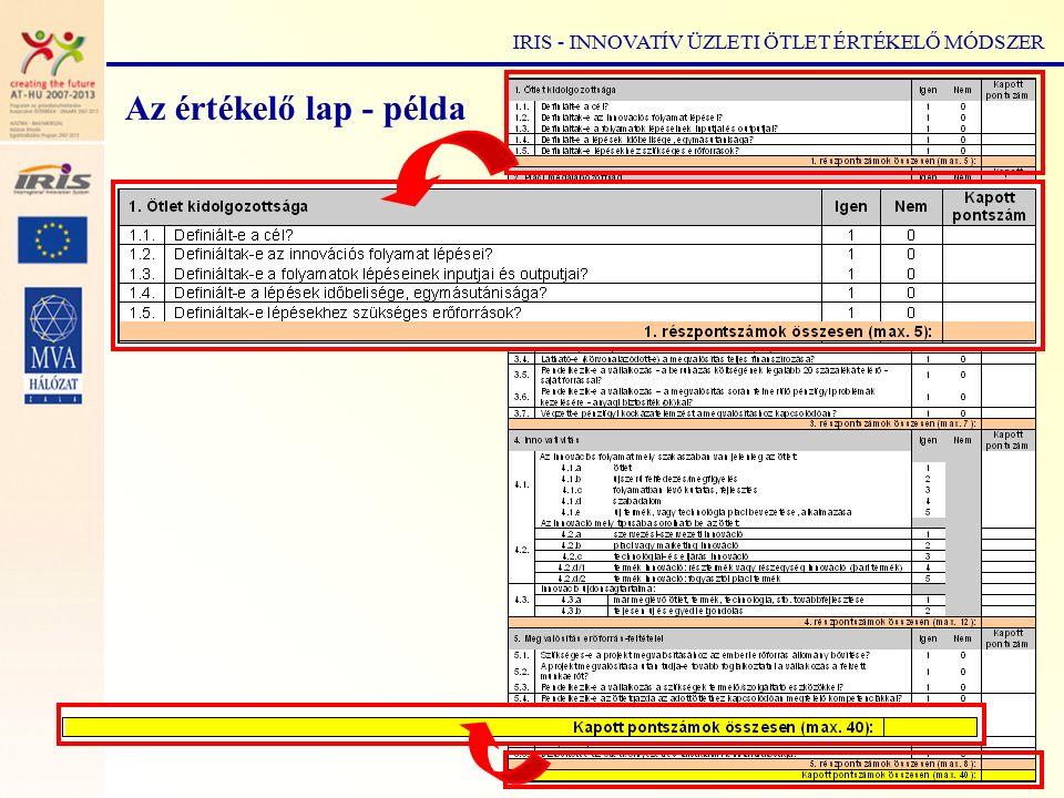 IRIS - INNOVATÍV ÜZLETI ÖTLET ÉRTÉKELŐ MÓDSZER Az értékelő lap - példa