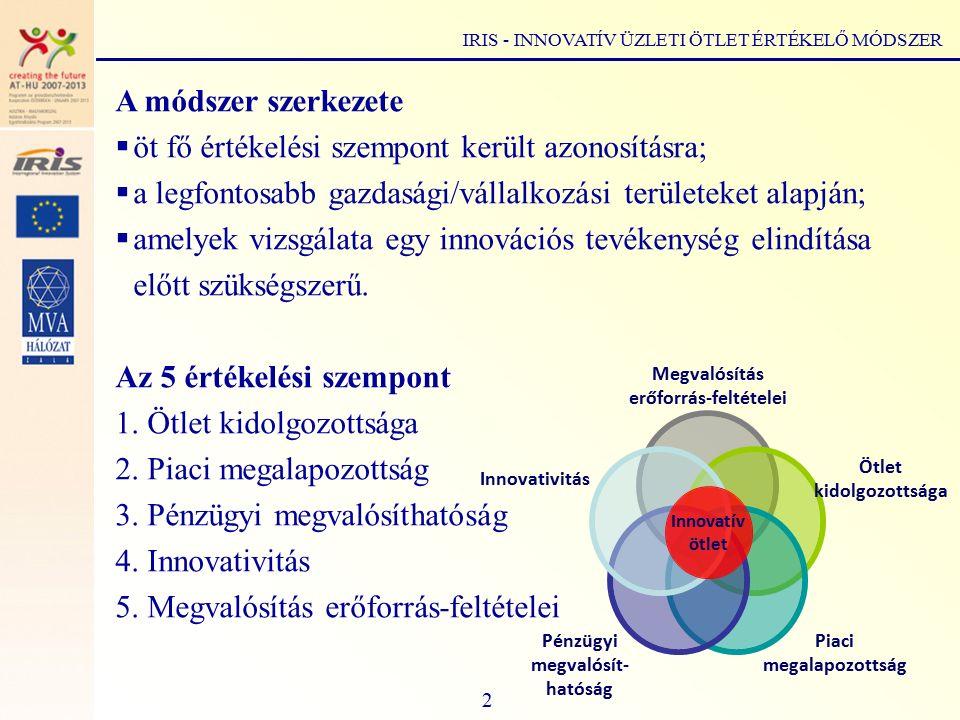 Az 5 értékelési szempont  Ötlet kidolgozottsága  Az új ötlet a haladás motorja.