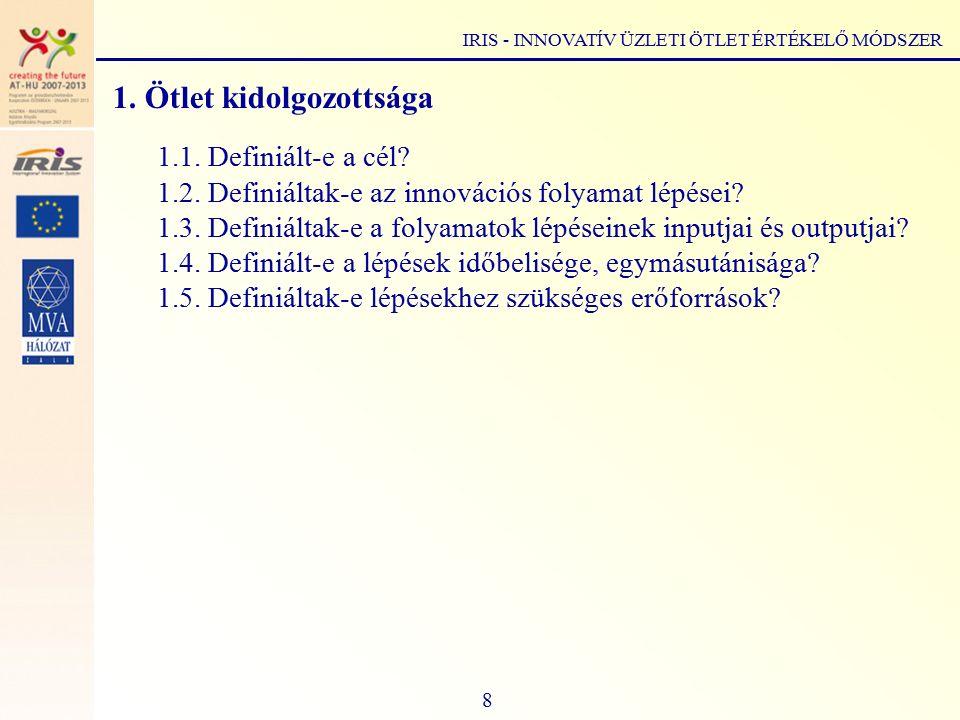 1. Ötlet kidolgozottsága 1.1. Definiált-e a cél.