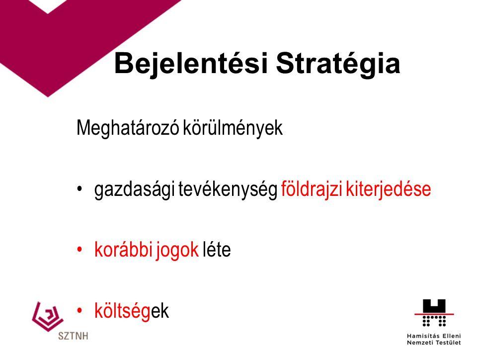 Bejelentési Stratégia Meghatározó körülmények gazdasági tevékenység földrajzi kiterjedése korábbi jogok léte költségek
